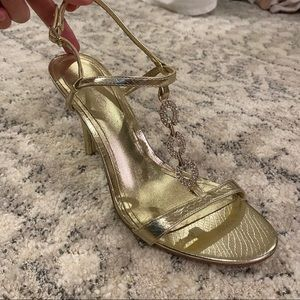 Gold Aldo heels with crystals
